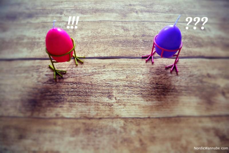 Eierbecher mit Kerze