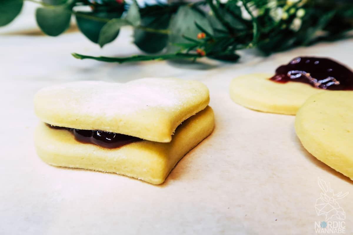 Keks-Herzen mit Marmelade, Valentinstag, Dänemark, Mürbeteig