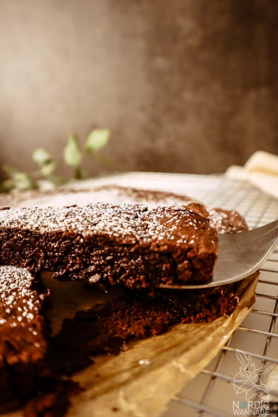 Kladdkaka, Schwedischer Schokokuchen, Schwedischer Schokoladenkuchen, Saftiger Schokokuchen, Rezept aus Schweden