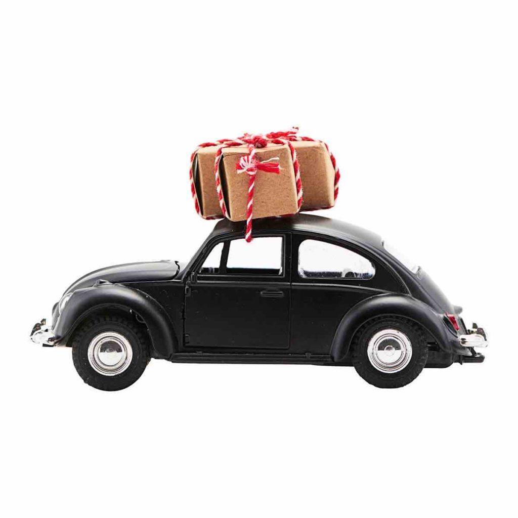 Weihnachtsdeko schwarz, Skandinavische Weihnachtsdeko , Auto mit Geschenk