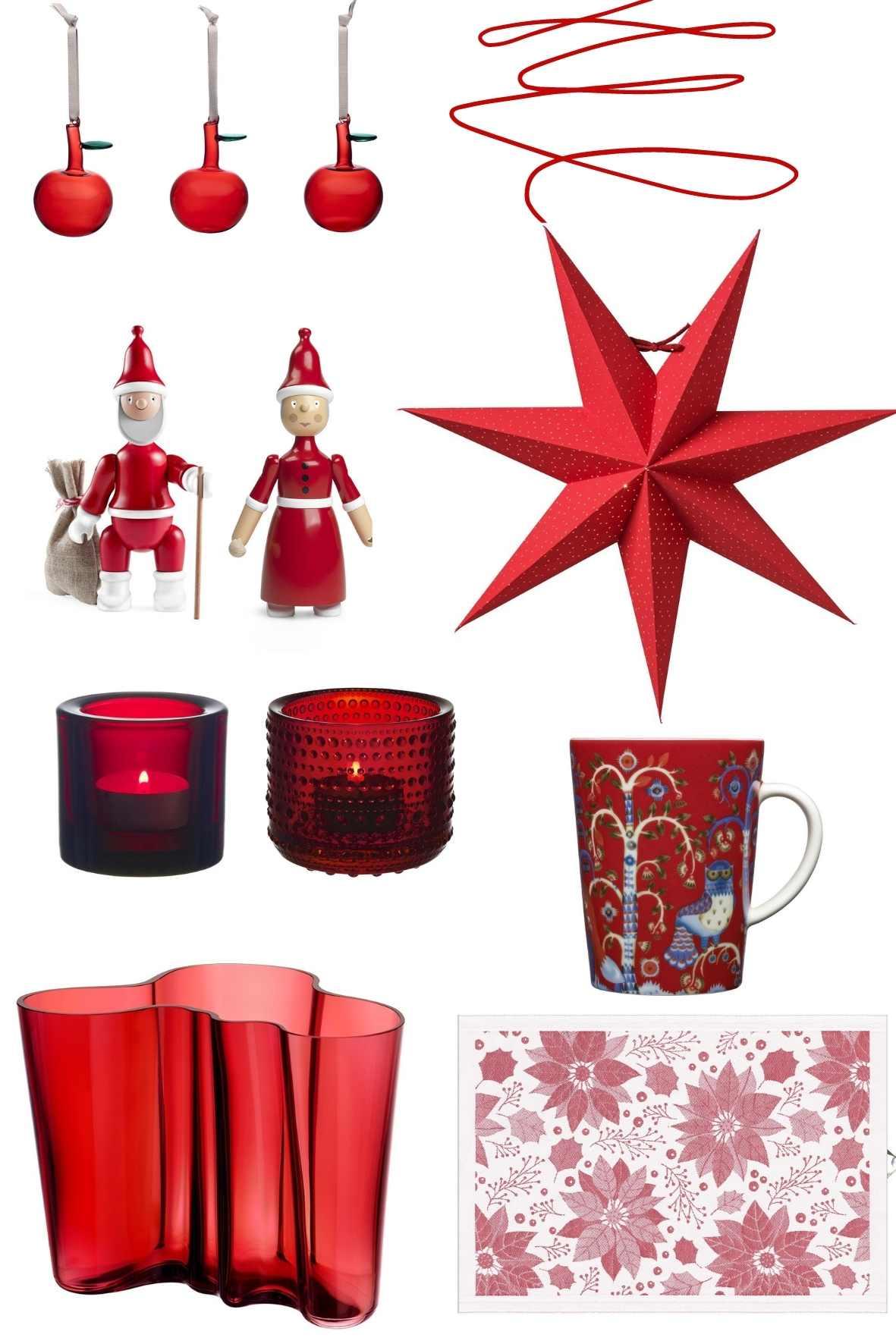 Weihnachtsdeko in Rot, Weihnachtsdekoration, Skandilook Weihanchten, Advent
