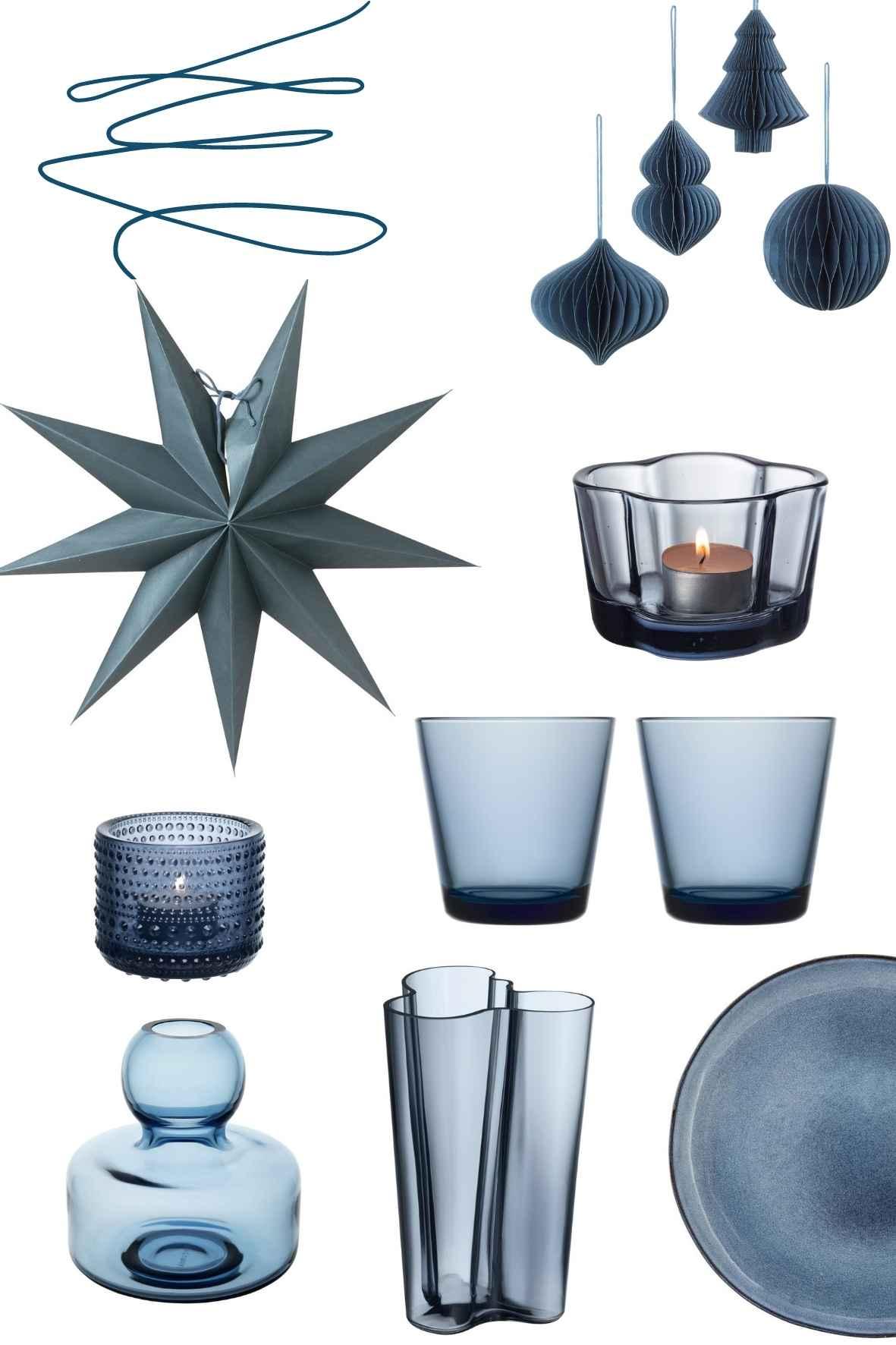 Skandinavische Weihnachtsdeko in blau, Petrol, skandinavisch Wohnen