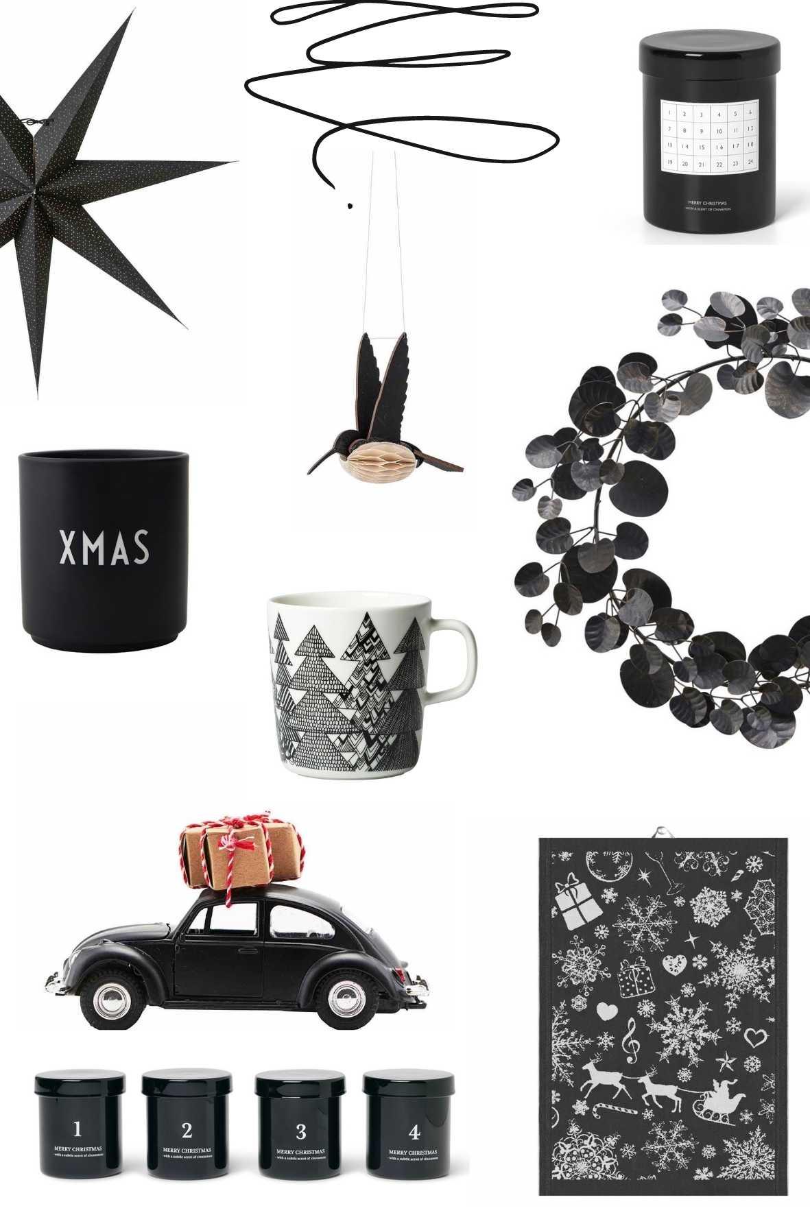 Weihnachtsdeko in schwarz